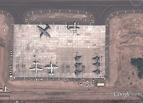 A sattelite image of Camp Lemonnier showing US F-15 jets on the apron (The Aviationist)