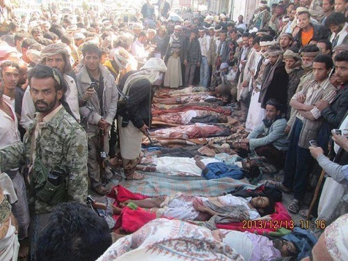 A photograph provided to Repreive shows the bodies of several victims buried in Radaa following the strike. (PHOTO: Repreive)
