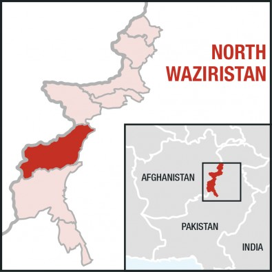 An outline map of North Waziristan, one of seven tribal agencies in Pakistan's Federally Administered Tribal Agencies.