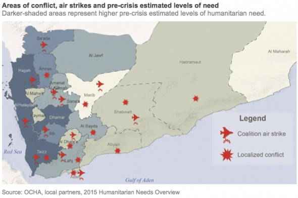 A map of Yemen showing the aeras under control of different armed groups, including the Houthis and forces loyal to President Hadi. It shows where Al Qaeda in the Arabian Peninsual/AQAP operates and it shows where the Saudi Arabian air strikes have hit.