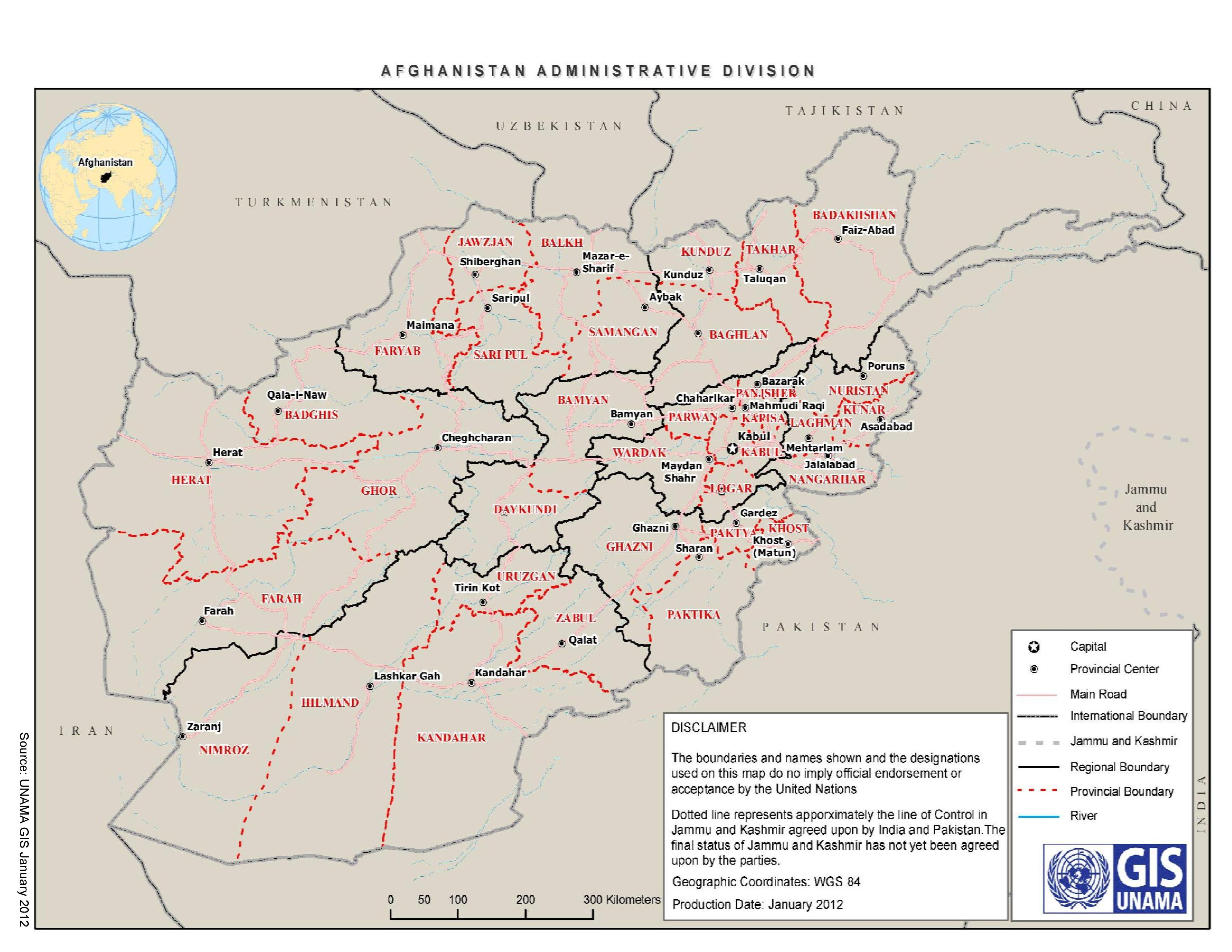 The provinces of Afghanistan: US strikes have reportedly been focused in the south and east of the country. By UNAMA the UN Assistance Mission in Afghanistan