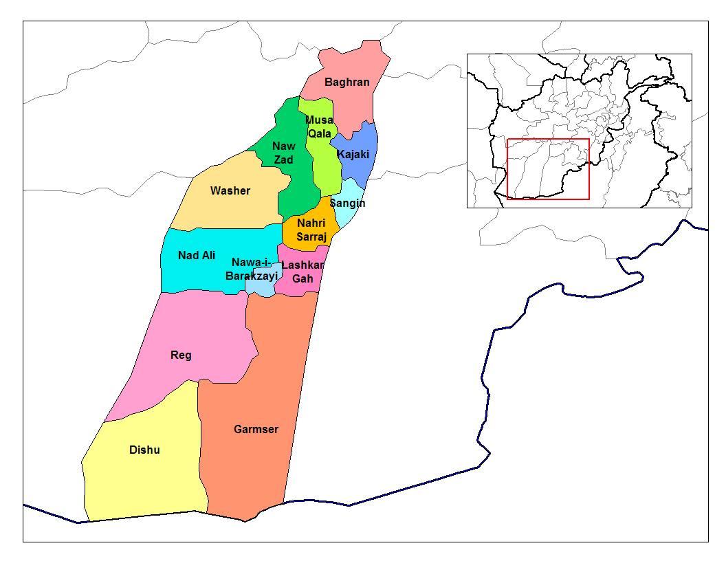 The districts of Afghanistan's Helmand province (Credit: Rarelibra