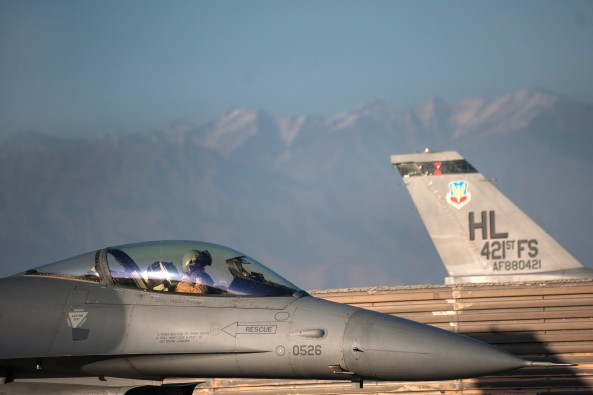 Pre-flight checks: F-16s get ready to take off from Bagram air base on October 30 2015 (Photo: US Air Force/Sgt Joseph Swafford)