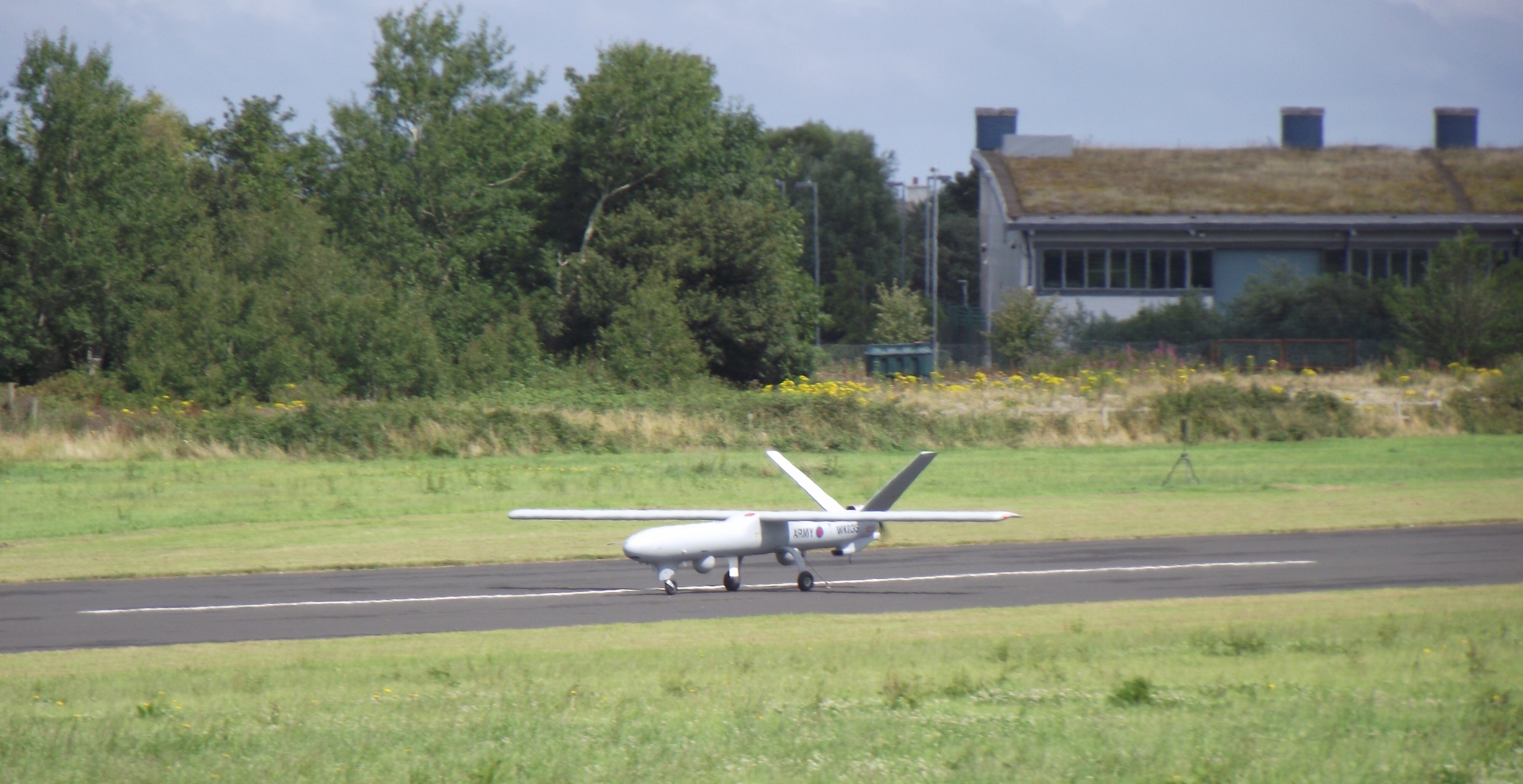 A Thales Watchkeeper on the runway at its test centre at West Wales Airport, Aberporth (Photo: Jack Serle)