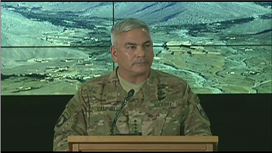 General John Campbell briefs the Pentagon and Kabul press corps with a summary of the findings of the investigation into the October 3 Kunduz hospital strike