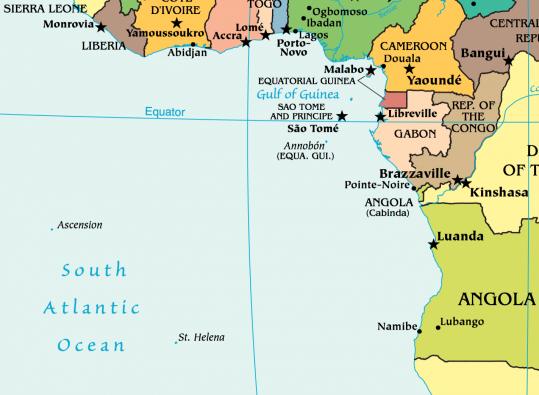 Ascension Island approximately 700 miles from St Helena and nearly 2,000 miles west of Angola's capital, Luanda. (Source: CIA Factbook)