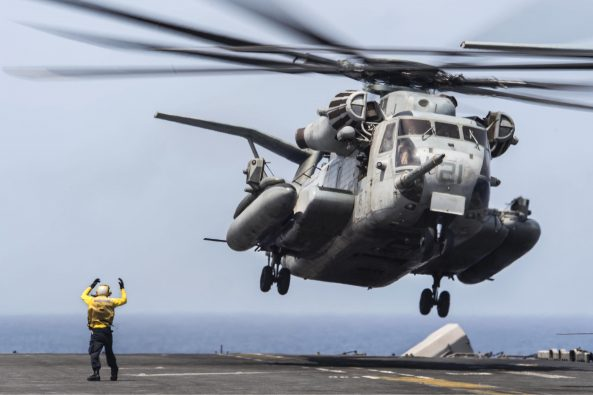 US helicopter takes off from USS Boxer's flight deck (Petty OFficer Debra Daco/US Navy)