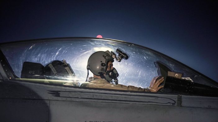 An Air Force captain taxis an F-16 Fighting Falcon before a night mission at Bagram Airfield, Afghanistan, Jan. 13, 2017. Air Force photo by Staff Sgt. Katherine Spessa